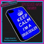 FITS IPHONE 4 / 4S PHONE KEEP CALM IM A  DRUG DEALER PLASTIC COVER BLUE